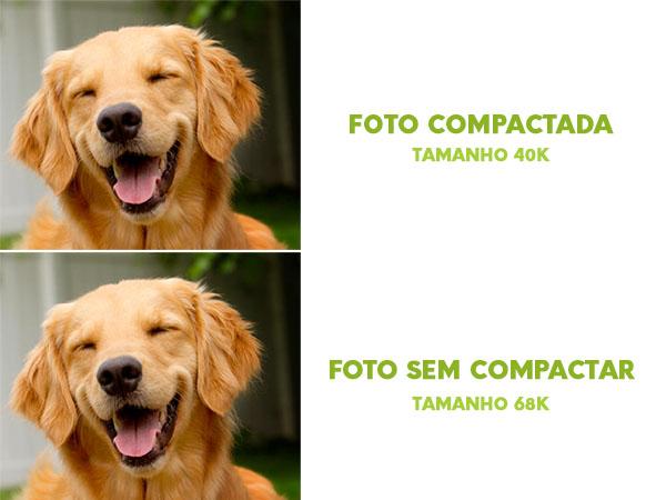 comparação de fotos compactada e não compactada