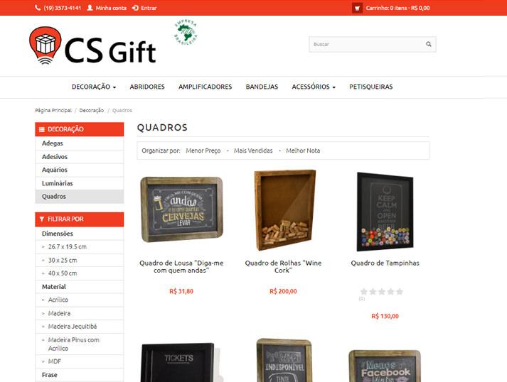 página de produtos